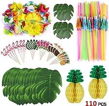 Howaf 111 Piezas Decoracion Fiesta Hawaiana Tropical con Hojas de Palmera, Flores de Hibisco, Piñas de Papel, Toppers de Magdalena, Pajitas de Paraguas 3D para Decoraciones de Hawaiana Luau Fiesta