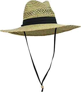 Men's Straw Outback Lifeguard Sun Hat with Wide Brim, Natural/ Black, One Size / Adjustable