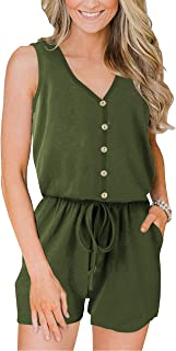 ANRABESS Women's Summer Casual Sleeveless V Neck Front Button Loose Jumpsuits Rompers with Pockets