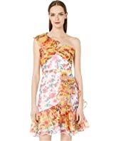 Marchesa Notte - One Shoulder Color Blocked Printed Cocktail Dress