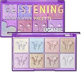 UCANBE Glistening Highlighter Palette, 8 Color Triple Bake Intensely Pigmented Powder Luxurious Silky Velvety Shimmer Illu...