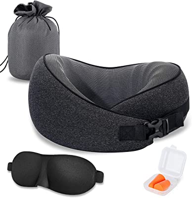 VISHNYA Travel Pillow 100% Pure Memory Foam Full Neck Chin Support Recliner Airplanes&Car Sleep Neck Pillow,360 Degree Adjustable Comfortable &Breathable Cover, Machine Washable, Luxury Bag(Black)