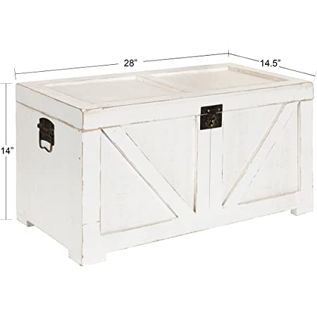 Amazon Com Kate And Laurel Cates Classic Farmhouse Small Wooden Storage Chest Trunk Antique White With Vintage Brass Hardware Furniture Decor