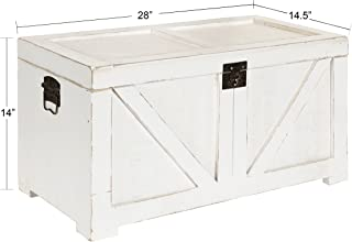 Kate and Laurel Cates Classic Farmhouse Small Wooden Storage Chest Trunk, Antique White with Vintage Brass Hardware
