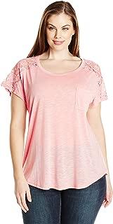 Paper + Tee Women's Plus-Size Short-Sleeve Lace-Trim Top