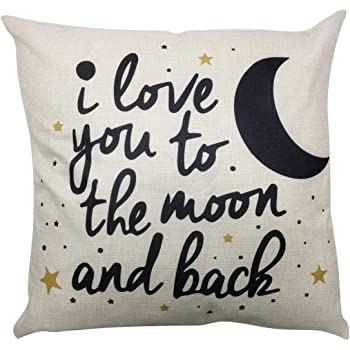 Arundeal Decorative Throw Pillow Case Cushion Covers, Cotton Linen 18 x 18 Inches, I Love You to The Moon and Back, for Sofa Couch Bed Nursery Decor