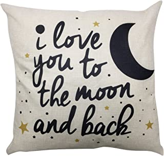 Arundeal I Love You to The Moon and Back 18 x 18 Inch Cotton Linen Square Throw Pillow Cases Cushion Cover