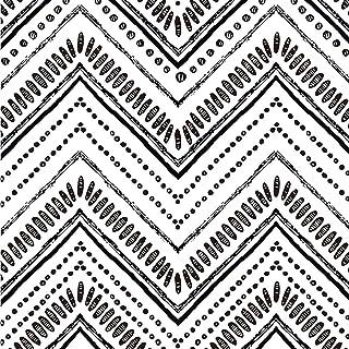 Okydoky Modern Oval Circle Stripe Peel and Stick Wallpaper, Black White Stripe Wallpaper, Vinyl Self Adhesive Decorative P...