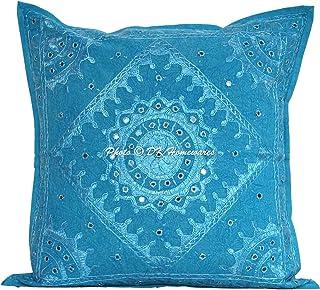 DK Homewares Indian Ethnique Traditionnel Miroir Brodé Turquoise 60x60 Couverture taie d'oreiller Coton Cadeau de Noël Car...