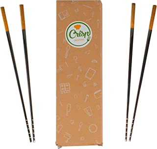 Crisp Creations 5 Pair Premium Stainless Steel and Gold Non-Slip Reusable Chopsticks