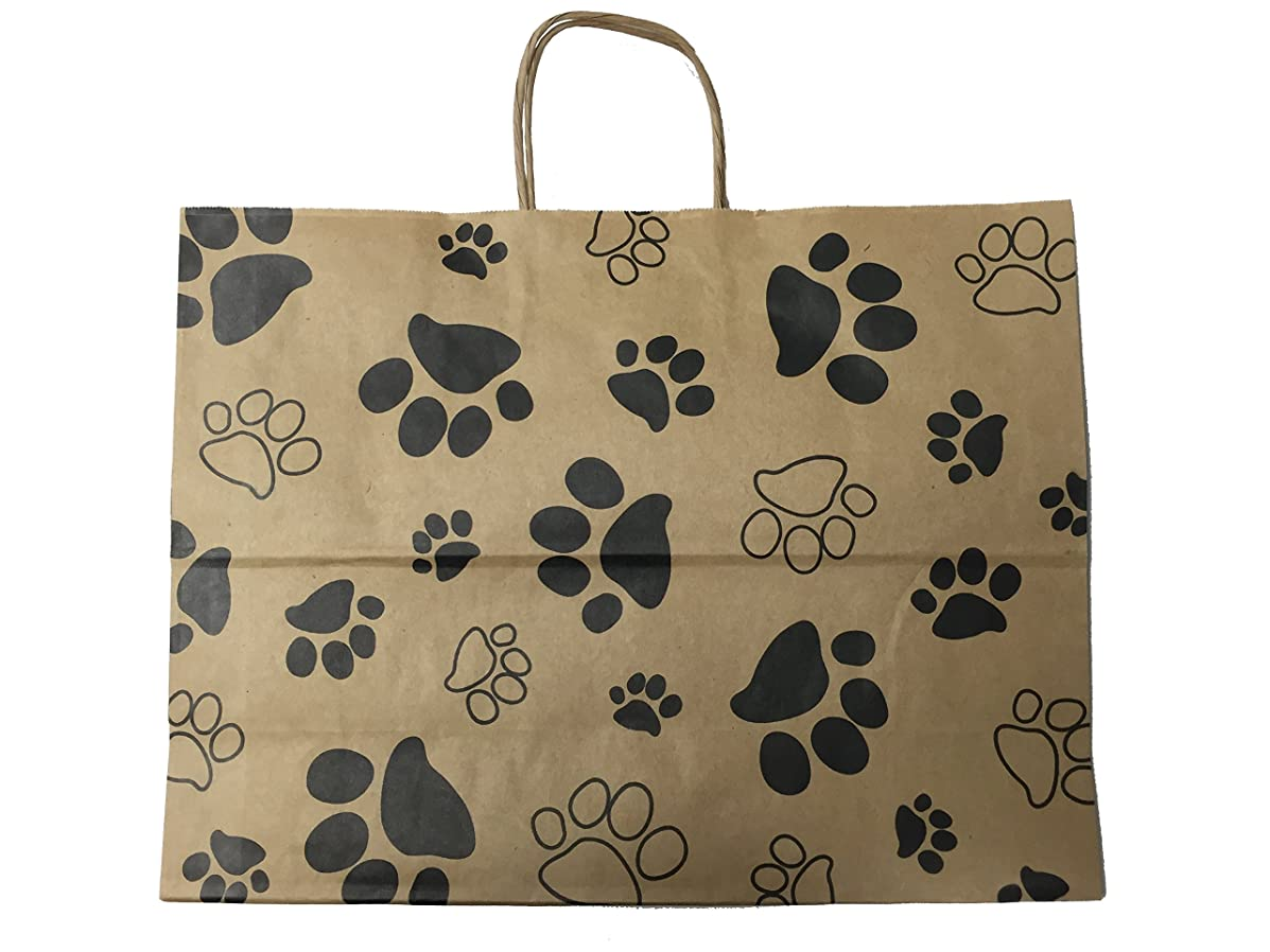Dog Print Bags, Extra Large Kraft Paper Gift Wrap Shopping Bags, (Vogue Size 16W x 12H x 6), 25 Bags, Made in USA