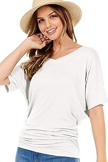 iliad USA Women's Dolman Top - Casual Short Sleeve V Neck Boat Neck Side Shirring Drape Blouse Solid Tee T Shirt