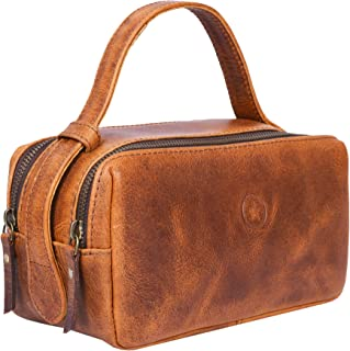 Leather Toiletry Bag for Men Dual Zipper with Handle and 2 Compartment