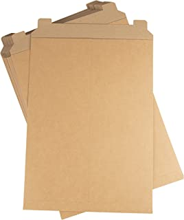Rigid Mailers - 25-Pack Stay Flat Photo Document Mailers, Flap Closure Paperboard Envelope Mailers for Photos, Pictures, Documents, No Bend, Kraft Brown, 13 x 18 inches
