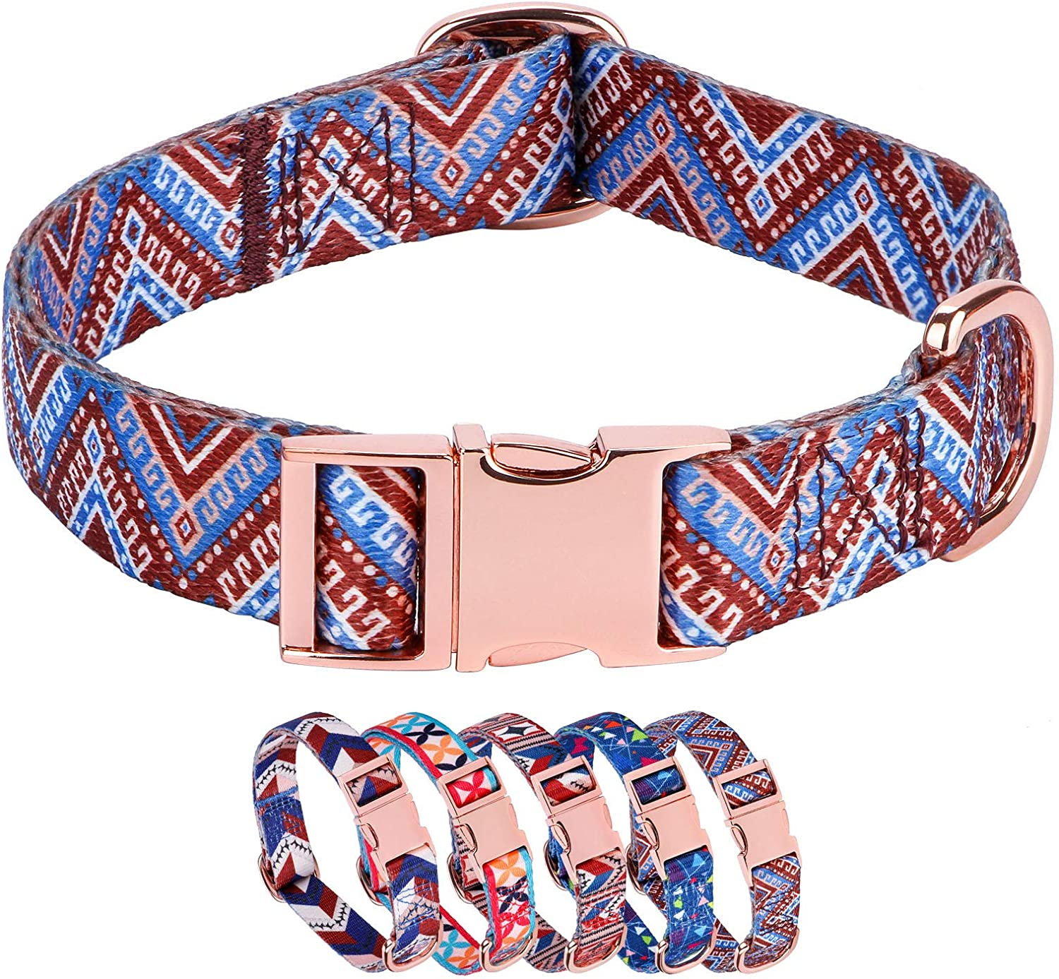 Rhea Special sale item Rose Durable Personalized Dog Max 42% OFF Gold Metal Buckle Collar