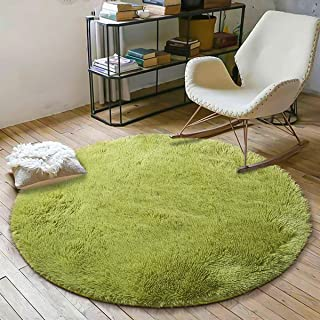 YOH Super Soft Round 4x4 Feet Area Rugs for Bedroom Kids Rooms Living Room Playroom Fluffy Boys Girls Baby Kids Children Rugs for Bedroom Home Nursery Décor Carpet for Women Popular Colors (Green)