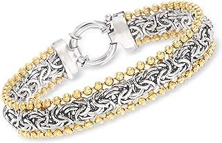2-Tone Sterling Silver Byzantine Beaded Bracelet