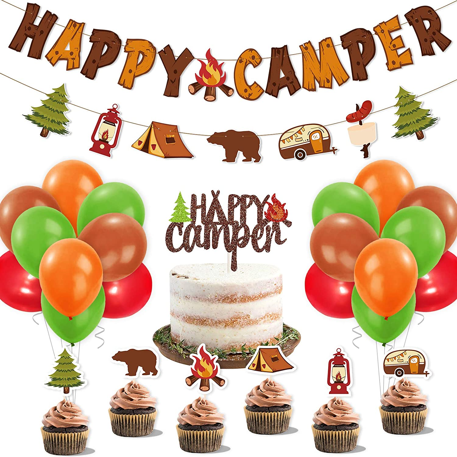 Happy Camper Party Decoration Kit Banner Cake Topper Balloons Kids Backyard Camp Out Birthday Photo Props Favor Campfire Tent S'more Fun Adventure Party Ideas
