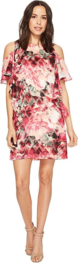 Tahari by ASL - Cascade Ruffle Printed Shift Dress