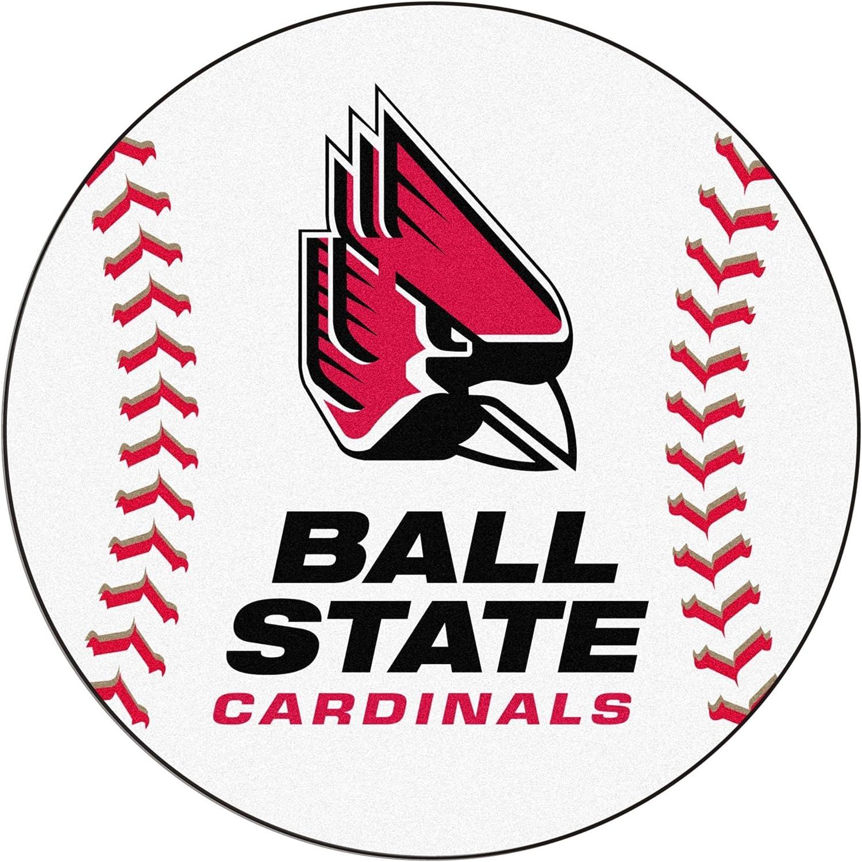 Ball State cardinals Baseball Rug 29  Diameter