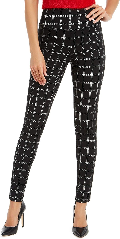 INC International Concepts Women's Windowpane Plaid High-Waisted Stretchy Leggings, Black Plaid, XS