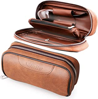 Scotte PU Leather Tobacco Smoking Wood Pipe Pouch case/Bag for 2 Tobacco Pipe and Other Accessories(Does not Include Pipes and Accessories)