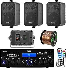 Pyle PDA6BU 200-Watt 2-Channel Digital USB/AUX FM Radio Stereo Amplifier Receiver, Bundle Combo with 4X Enrock EKMR408B 4