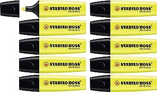 Surligneur - STABILO BOSS ORIGINAL - Lot de 10 surligneurs - Jaune