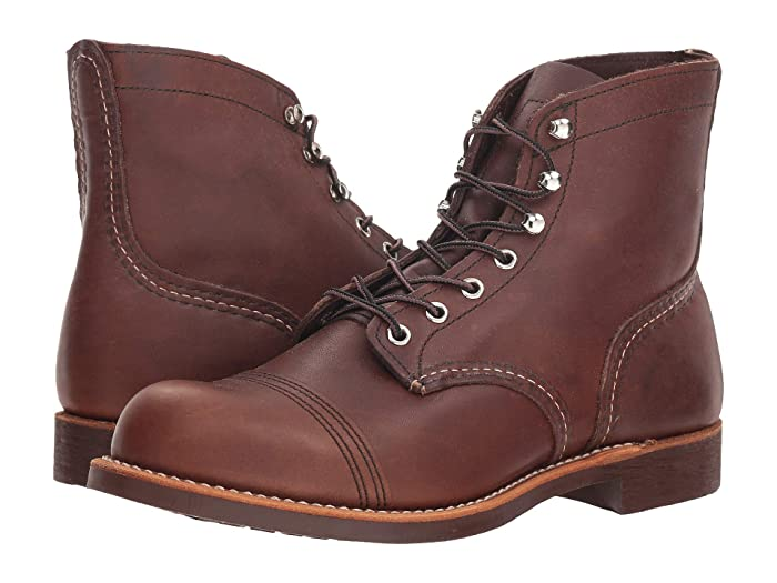 Men's Vintage Workwear Inspired Clothing 1930s Red Wing Heritage 6 Iron Ranger Lug Amber Harness Mens Lace-up Boots $329.99 AT vintagedancer.com
