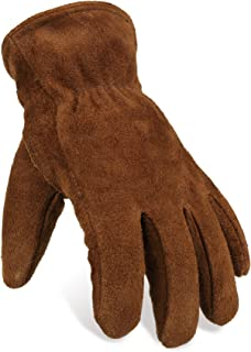 OZERO Insulated Gloves Cold Proof Leather Winter Work Glove Thick Thermal Imitation Lambswool - Extra Grip, Flexible and Warm for Working in Cold Weather for Men and Women (Brown,Large)