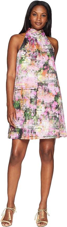 Print Cotton Neck Bow Tie Dress