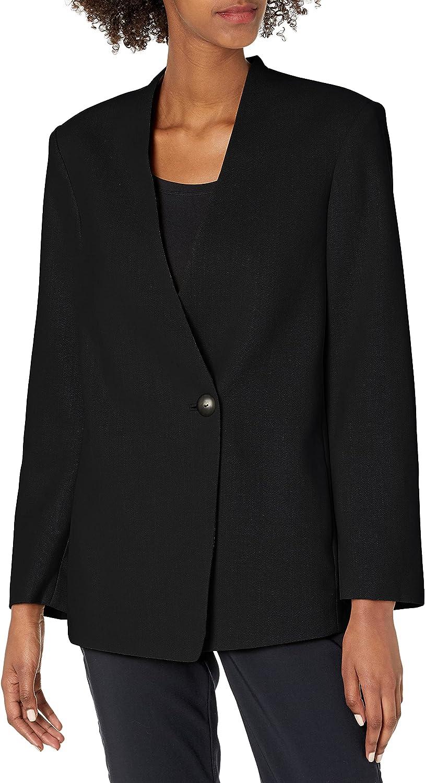VINCE Women's Collarless Blazer, Black, 0