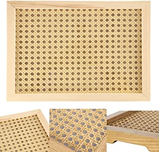 IE Large Rectangular Ash Wood Rattan Tray (Wood Color) Decorative Hand-Woven Serving Tray Made from Wooden Material for Se...