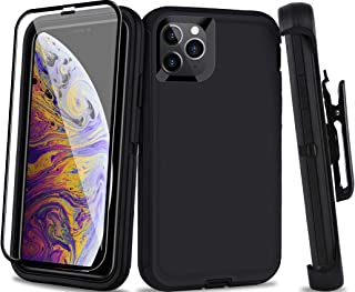 AOPULY Case for iPhone 11 Pro Max, Full Body Rugged Heavy Duty Case with Screen Protector, Belt-Clip Holster Kickstand Shockproof Durable Cover for Apple iPhone 11 Pro Max 6.5-inch(Black+Clip)
