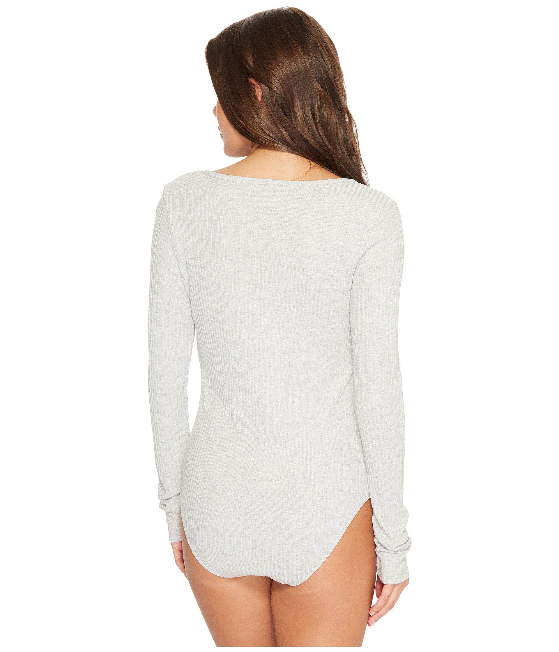 Bodysuit With Felina V neckline Long Grey Rib Sleeve Heather wqq1CpxB