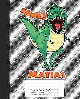 Graph Paper 5x5: MATIAS Dinosaur Rawr T-Rex Notebook (Weezag Graph Paper 5x5 Notebook)
