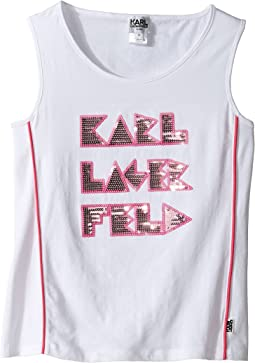 Tank Top w/ Contrast Piping & Sequin Graphics (Little Kids)