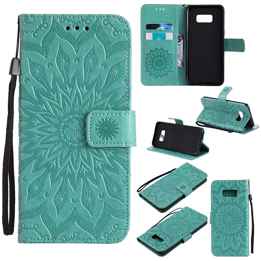 Ropigo Emboss 3D Sunflower Wallet Case for Samsung Galaxy S8 Plus (Not Fit S8) Flip Leather Protective Case with Wrist Strap,Magnetic Closure,Credit Card Slots Holder,Kickstand Function Mint Green