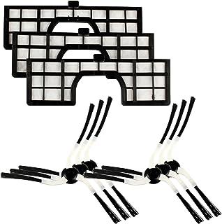 Menalux MRK 02 MRK02-6 cepillos Laterales y 3 filtros compatibles con el Robot Samsung Navibot, Negro