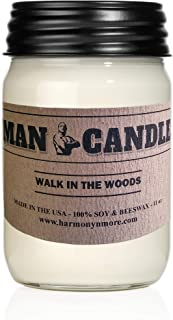 Harmony Bath and Body Products Best Man Candle - Best Soy Beeswax Candle - Premium Quality - Recyclable Mason Jar - Novel Gift - 11 Oz Large Candle – Walk in The Woods Scent