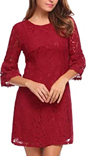 Zeagoo Women's 3/4 Flare Sleeve Floral Lace Elegant A-Line Cocktail Party Mini Dress