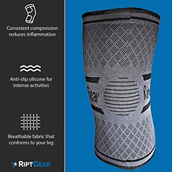 RiptGear Compression Knee Sleeve - Knee Brace for Arthritis, Patella Stabilizer, Meniscus Tear, Joint Pain Relief & R...