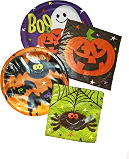 Happy Haunts Decorations Party Plates and Napkins Set Halloween Party Supplies (48 Piece Set)