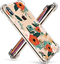 GVIEWIN Compatible for iPhone Xs/X Case, Clear Flower Pattern Design Soft & Flexible TPU Ultra-Thin Shockproof Transparent...