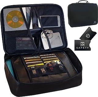 M T Safety Fireproof Document Bag: Large Black, Multi-Layer, Password Lock, Travel Storage Box Case, 7 Pockets, 4 Mesh Bag...