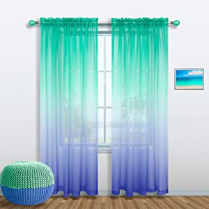 Summer Window Treatments for Living Room 1 Sheer Curtain Panel Green and Blue Print Pattern Design Mermaid Coastal Tropical Sea Themed Beach Decor for Bathroom Bedroom Home Decoration