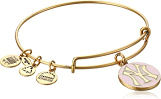 New York Yankees Cap Logo Pink Expandable Rafaelian Gold Bangle Bracelet
