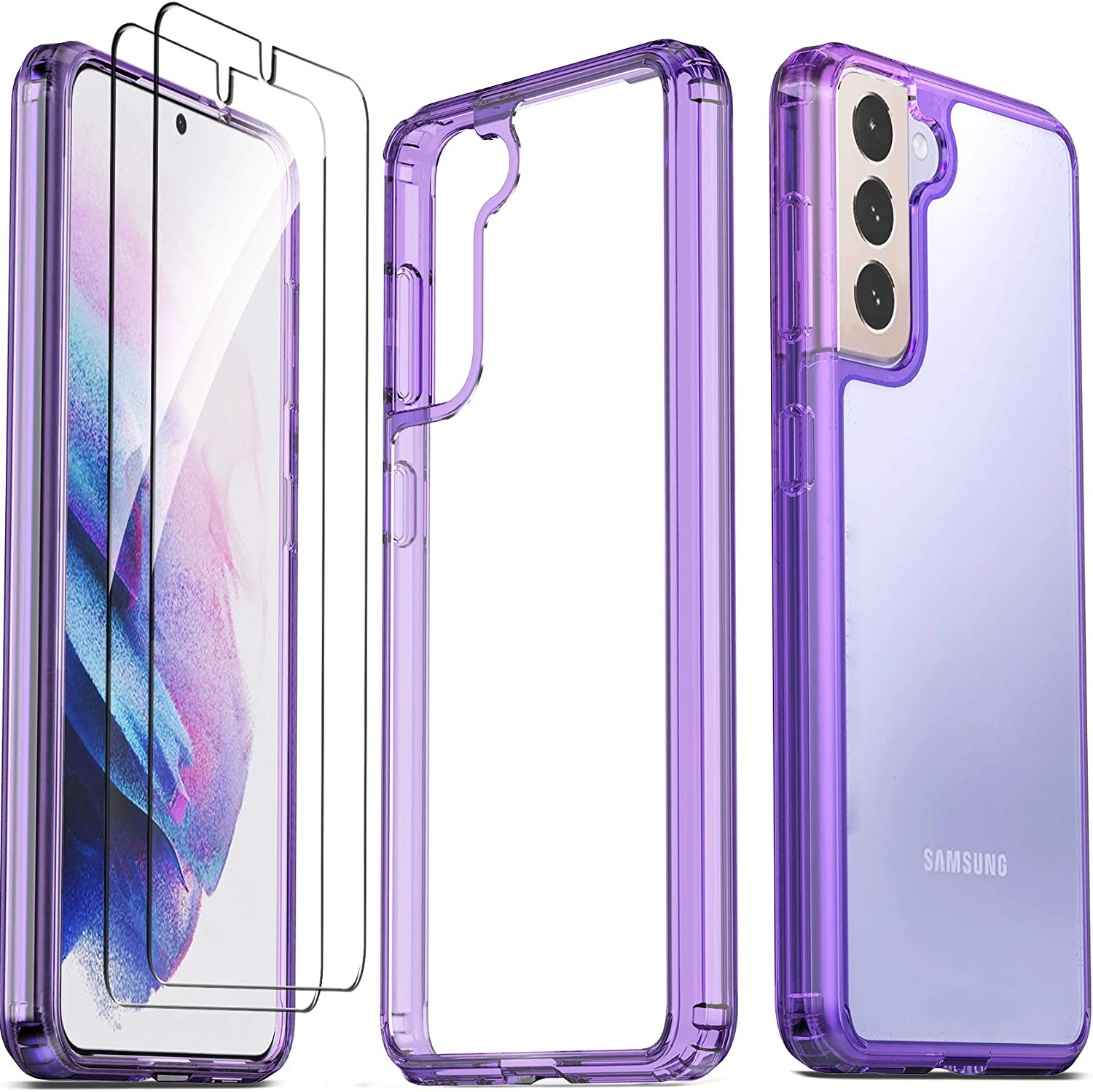Ferilinso for Samsung Galaxy S21 Case, [NOT Fit S21+ Plus], with 2 Pack Tempered Glass Screen Protector [Hard PC Back TPU Flexible Frame] [Military Grade Protection] [10X Anti-Yellowing]-Purple Cover