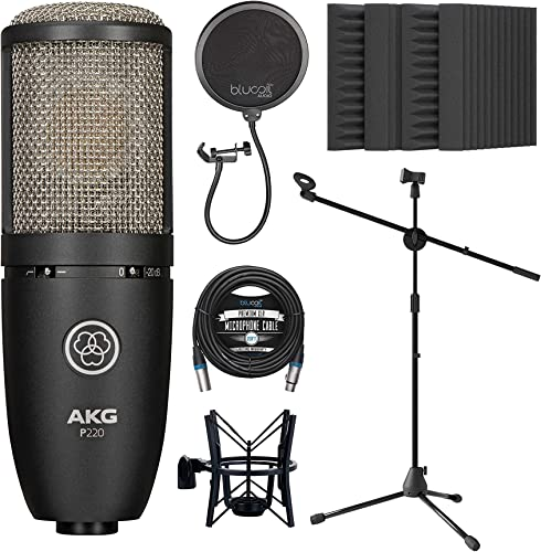 """discount AKG P220 Large-Diaphragm Condenser Microphone for Vocals, Pianos, Horns, String Instruments outlet online sale Bundle with Blucoil 20-FT Balanced XLR wholesale Cable, Pop Filter, Adjustable Mic Stand, and 4x 12"""" Acoustic Wedges online sale"""