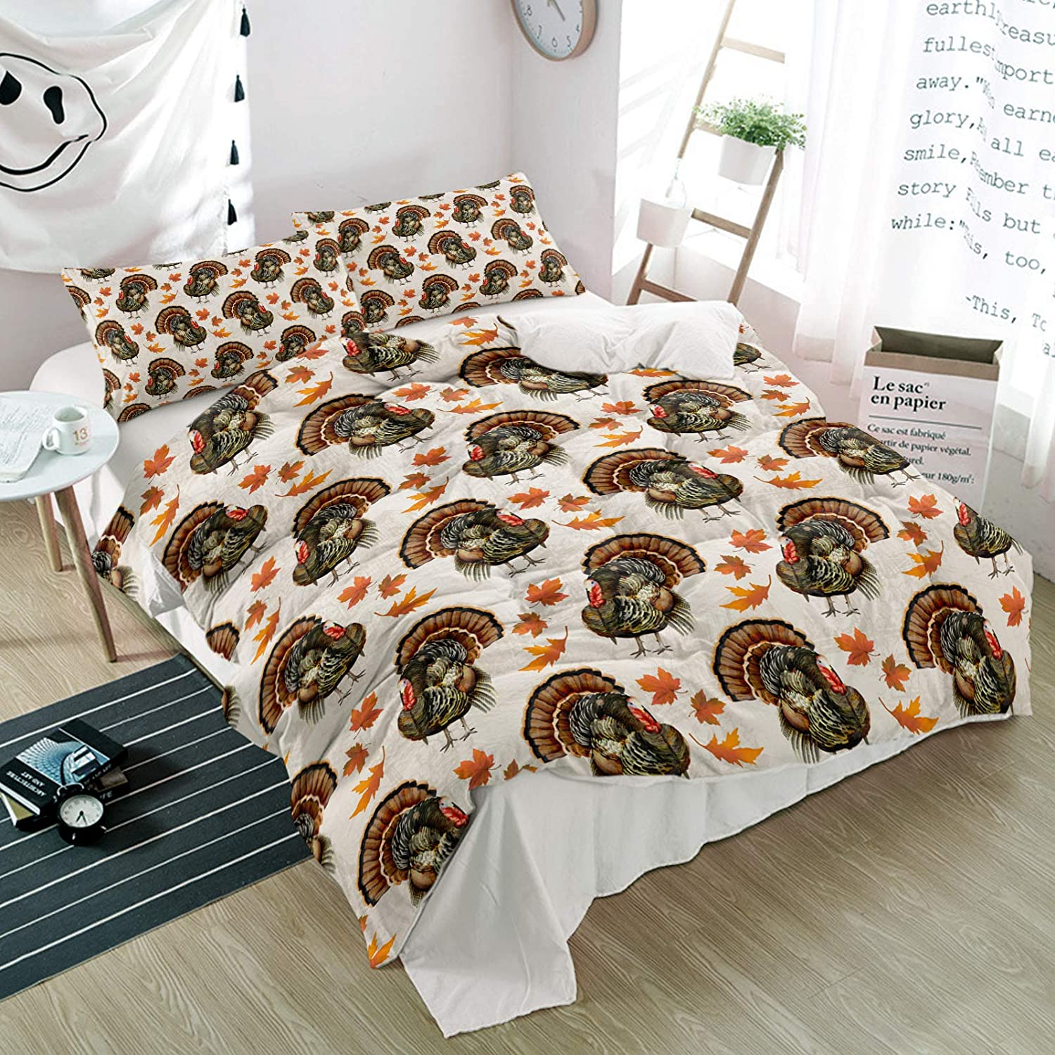 WARM TOUR Complete Free Shipping 3 Pieces Duvet Max 42% OFF Cover Day Sets Full Animal Thanksgiving